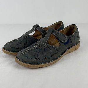 Josef Sibel Blue Leather Rosalie T-Bar Sandal
